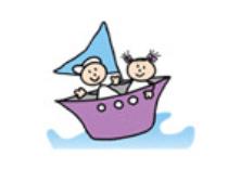 Logo met kinderen in een bootje